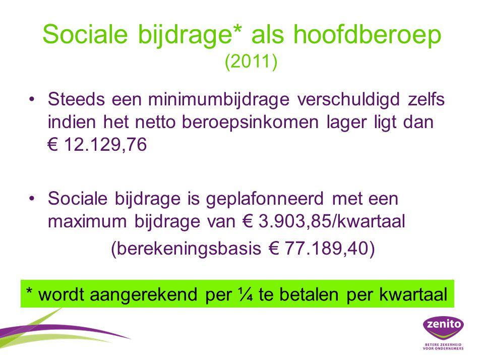Sociale bijdrage* als hoofdberoep (2011) Steeds een minimumbijdrage verschuldigd zelfs indien het netto beroepsinkomen lager ligt dan € 12.129,76 Soci