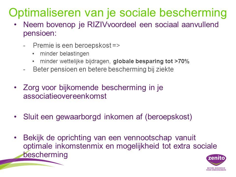 Optimaliseren van je sociale bescherming Neem bovenop je RIZIVvoordeel een sociaal aanvullend pensioen: -Premie is een beroepskost => minder belastingen minder wettelijke bijdragen, globale besparing tot >70% -Beter pensioen en betere bescherming bij ziekte Zorg voor bijkomende bescherming in je associatieovereenkomst Sluit een gewaarborgd inkomen af (beroepskost) Bekijk de oprichting van een vennootschap vanuit optimale inkomstenmix en mogelijkheid tot extra sociale bescherming