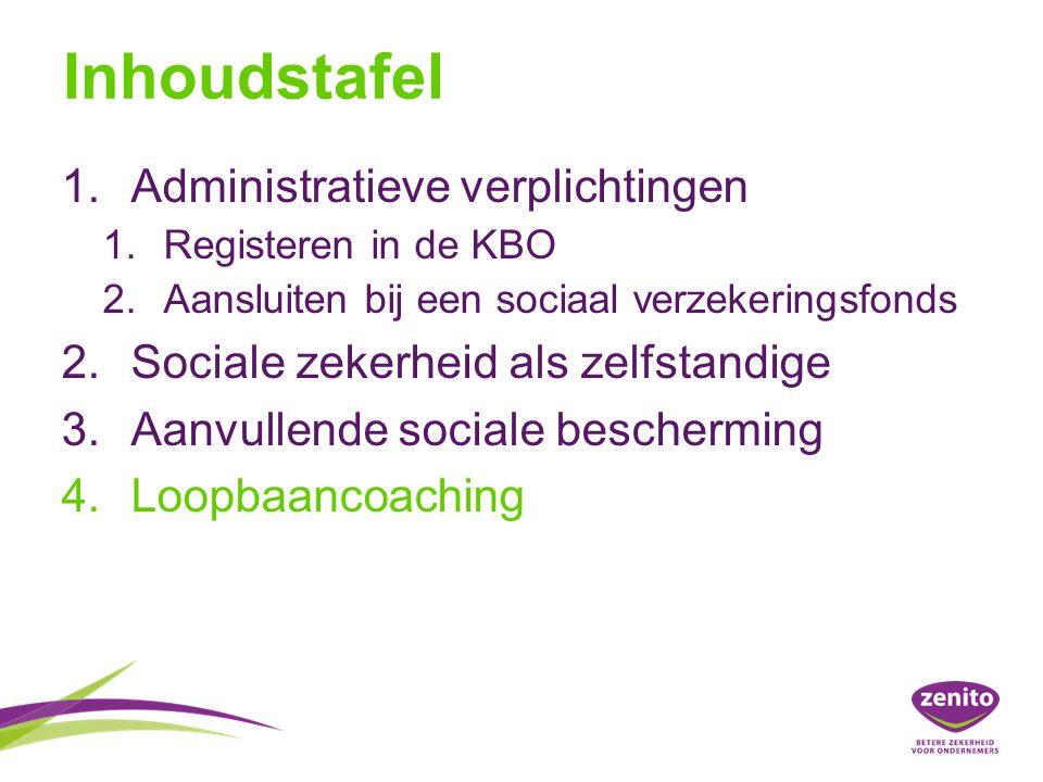 Inhoudstafel 1.Administratieve verplichtingen 1.Registeren in de KBO 2.Aansluiten bij een sociaal verzekeringsfonds 2.Sociale zekerheid als zelfstandige 3.Aanvullende sociale bescherming 4.Loopbaancoaching