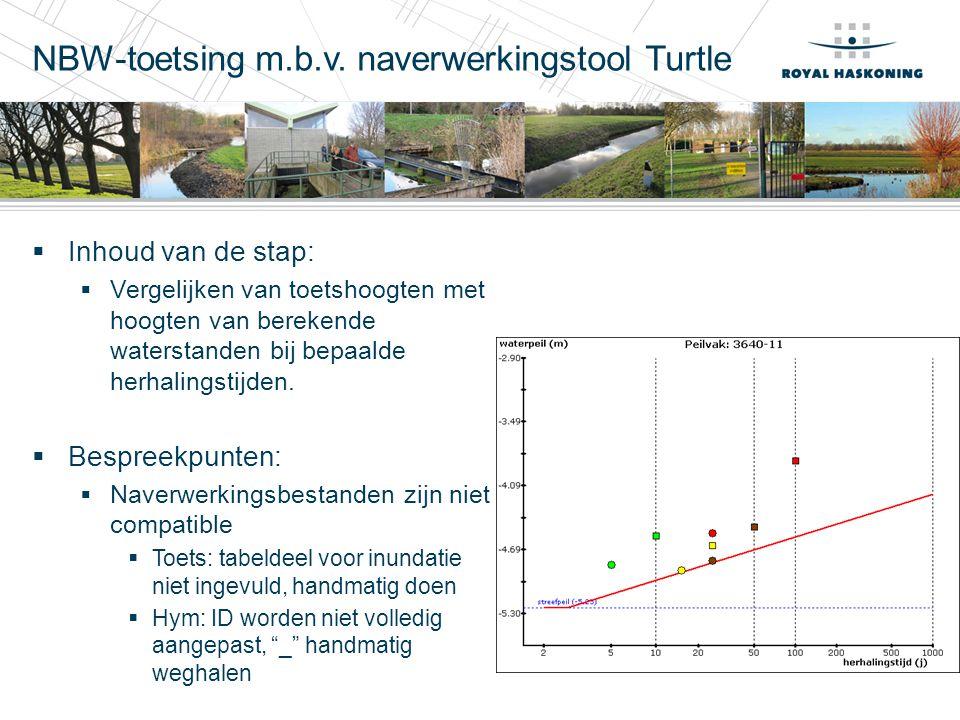 NBW-toetsing m.b.v. naverwerkingstool Turtle  Inhoud van de stap:  Vergelijken van toetshoogten met hoogten van berekende waterstanden bij bepaalde