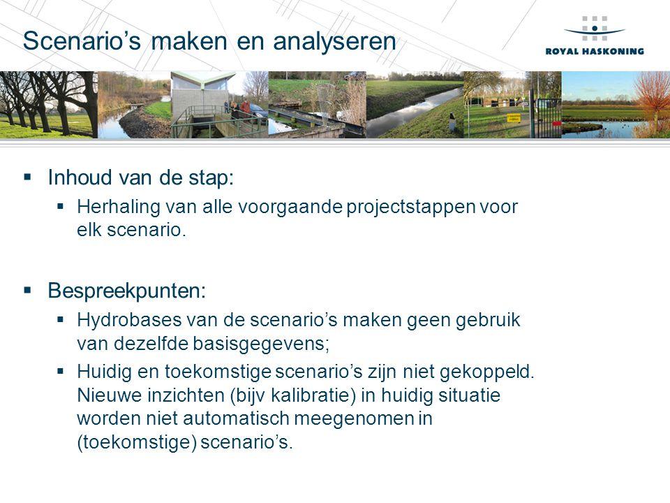 Scenario's maken en analyseren  Inhoud van de stap:  Herhaling van alle voorgaande projectstappen voor elk scenario.  Bespreekpunten:  Hydrobases