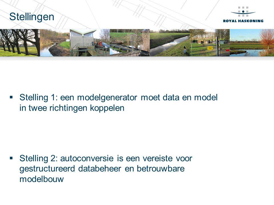 Stellingen  Stelling 1: een modelgenerator moet data en model in twee richtingen koppelen  Stelling 2: autoconversie is een vereiste voor gestructureerd databeheer en betrouwbare modelbouw