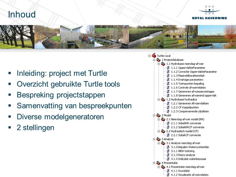 Inleiding: project met Turtle  Tools: Turtle en RR-sobek  Modellen huidige situatie en 3 scenario's (varianten van peil ophogen, peilvakindeling wijzigen, maaiveld deels ophogen, landgebruik wijzigen)  'Watersysteemanalyse Osdorperbinnenpolder'  Doel: ontwerp en toetsing toekomstig watersysteem recreatiegebied Amsterdam West