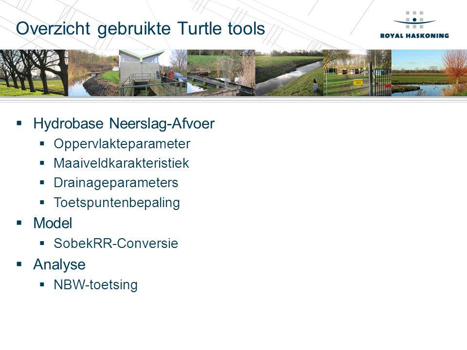 Overzicht gebruikte Turtle tools  Hydrobase Neerslag-Afvoer  Oppervlakteparameter  Maaiveldkarakteristiek  Drainageparameters  Toetspuntenbepaling  Model  SobekRR-Conversie  Analyse  NBW-toetsing