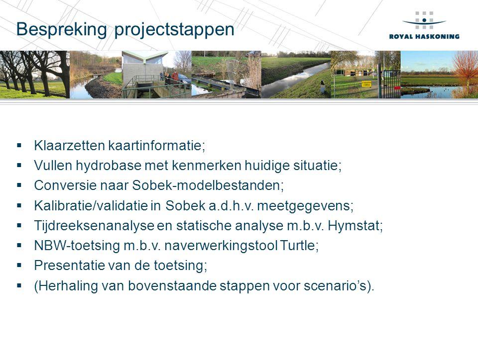 Bespreking projectstappen  Klaarzetten kaartinformatie;  Vullen hydrobase met kenmerken huidige situatie;  Conversie naar Sobek-modelbestanden;  Kalibratie/validatie in Sobek a.d.h.v.