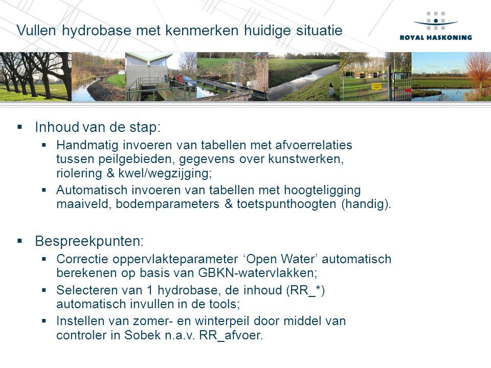 Vullen hydrobase met kenmerken huidige situatie  Inhoud van de stap:  Handmatig invoeren van tabellen met afvoerrelaties tussen peilgebieden, gegeve