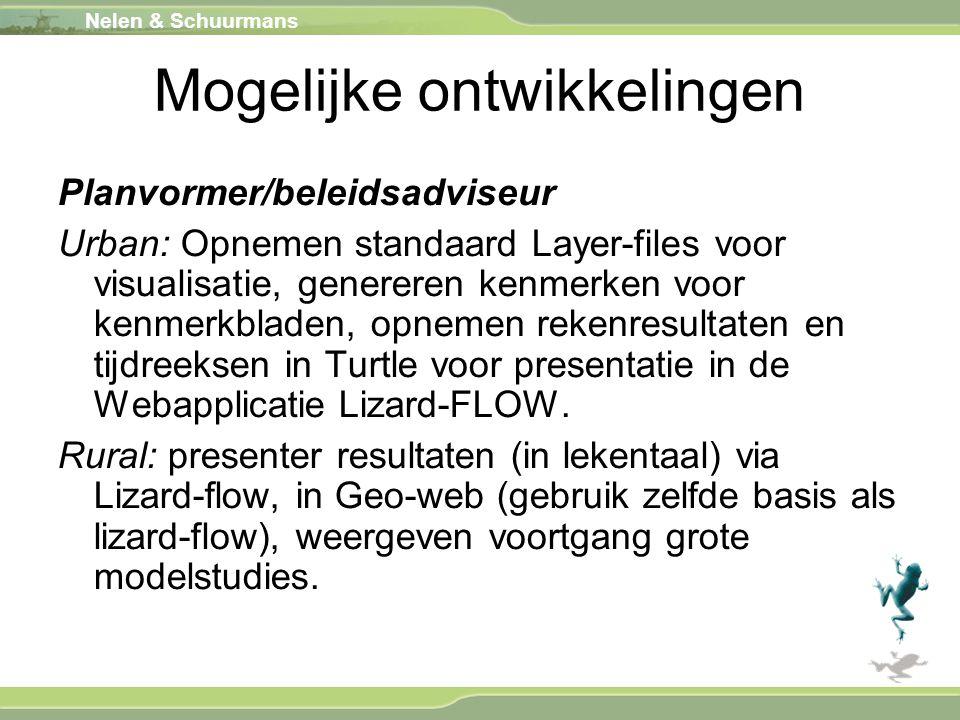 Nelen & Schuurmans Mogelijke ontwikkelingen Planvormer/beleidsadviseur Urban: Opnemen standaard Layer-files voor visualisatie, genereren kenmerken voo