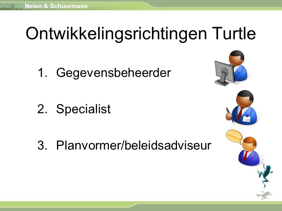 Ontwikkelingsrichtingen Turtle 1.Gegevensbeheerder 2.Specialist 3.Planvormer/beleidsadviseur