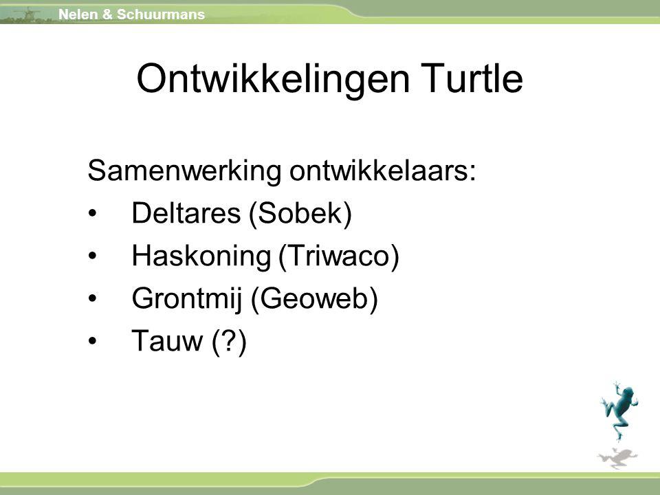 Nelen & Schuurmans Ontwikkelingen Turtle Samenwerking ontwikkelaars: Deltares (Sobek) Haskoning (Triwaco) Grontmij (Geoweb) Tauw (?)