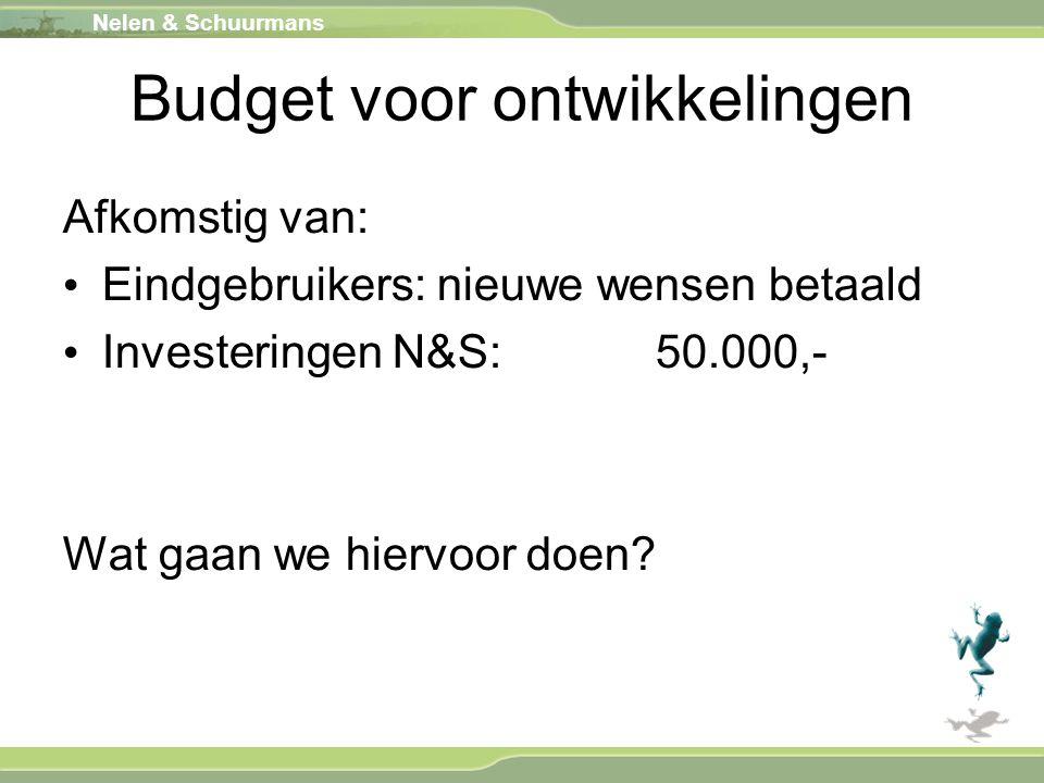 Nelen & Schuurmans Budget voor ontwikkelingen Afkomstig van: Eindgebruikers: nieuwe wensen betaald Investeringen N&S: 50.000,- Wat gaan we hiervoor do