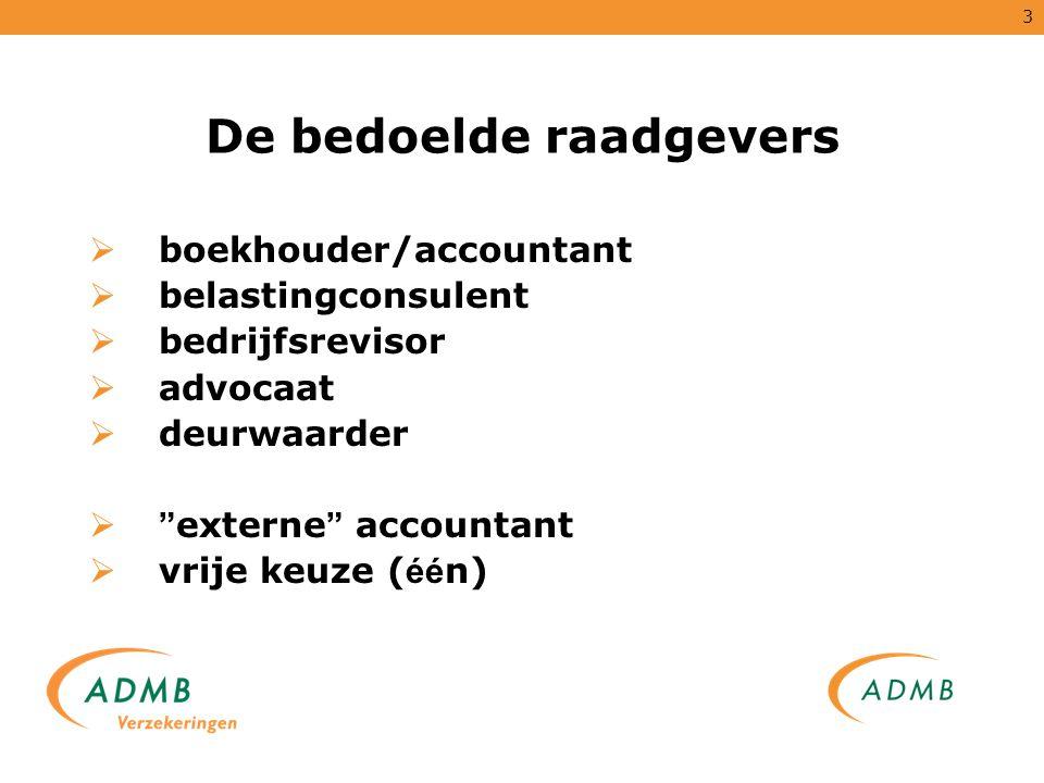 """3 De bedoelde raadgevers  boekhouder/accountant  belastingconsulent  bedrijfsrevisor  advocaat  deurwaarder  """" externe """" accountant  vrije keuz"""
