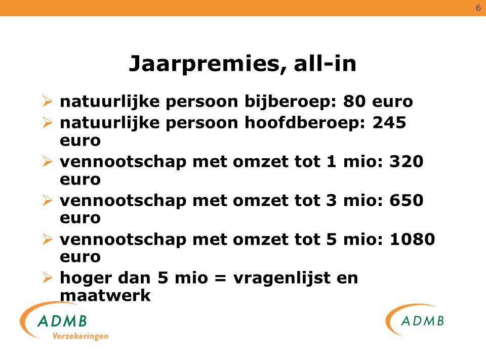 6 Jaarpremies, all-in  natuurlijke persoon bijberoep: 80 euro  natuurlijke persoon hoofdberoep: 245 euro  vennootschap met omzet tot 1 mio: 320 eur