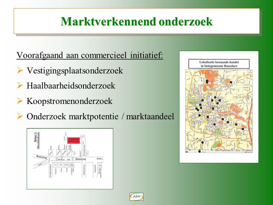 Voorafgaand aan commercieel initiatief:  Vestigingsplaatsonderzoek  Haalbaarheidsonderzoek  Koopstromenonderzoek  Onderzoek marktpotentie / marktaandeel Marktverkennend onderzoek