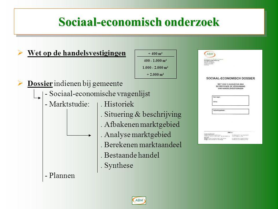  Wet op de handelsvestigingen  Dossier indienen bij gemeente - Sociaal-economische vragenlijst - Marktstudie:.