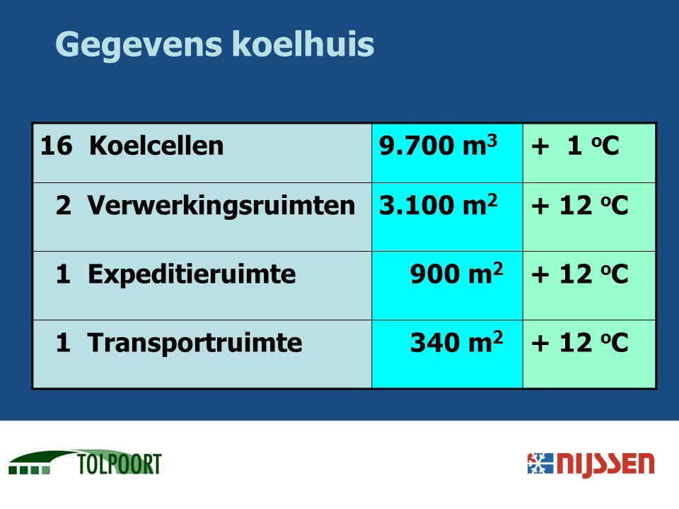 Gegevens koelhuis 16 Koelcellen9.700 m 3 + 1 o C 2 Verwerkingsruimten3.100 m 2 + 12 o C 1 Expeditieruimte 900 m 2 + 12 o C 1 Transportruimte 340 m 2 +