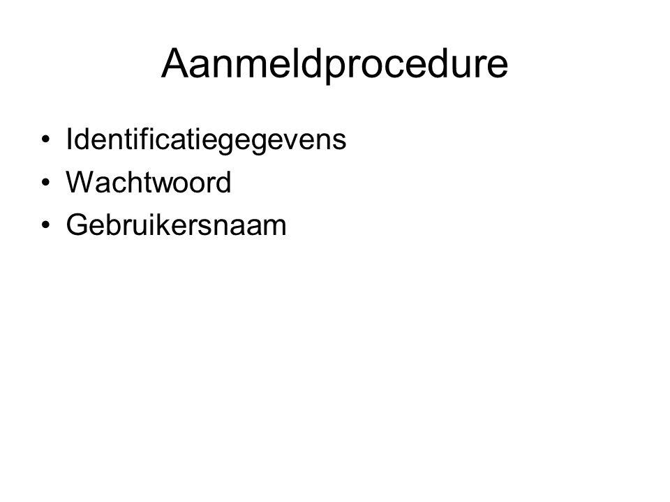 Aanmeldprocedure Identificatiegegevens Wachtwoord Gebruikersnaam