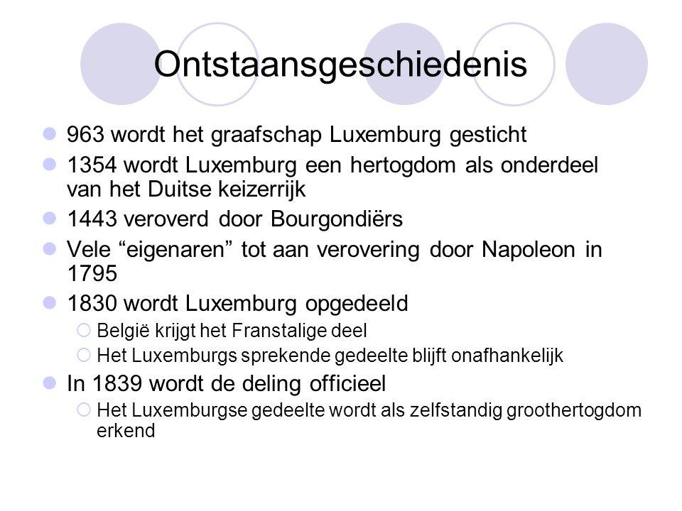 Ontstaansgeschiedenis 963 wordt het graafschap Luxemburg gesticht 1354 wordt Luxemburg een hertogdom als onderdeel van het Duitse keizerrijk 1443 vero