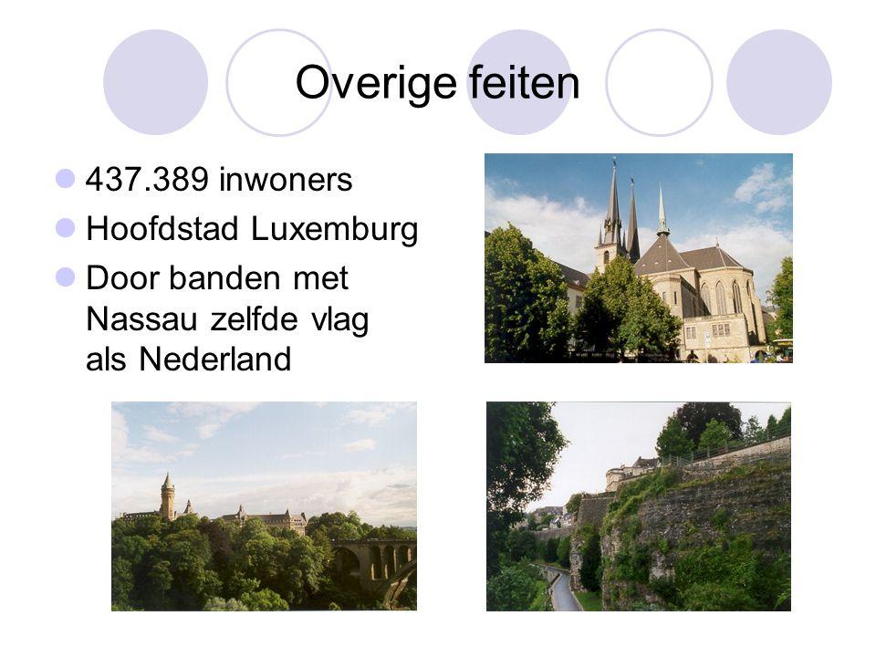 Overige feiten 437.389 inwoners Hoofdstad Luxemburg Door banden met Nassau zelfde vlag als Nederland