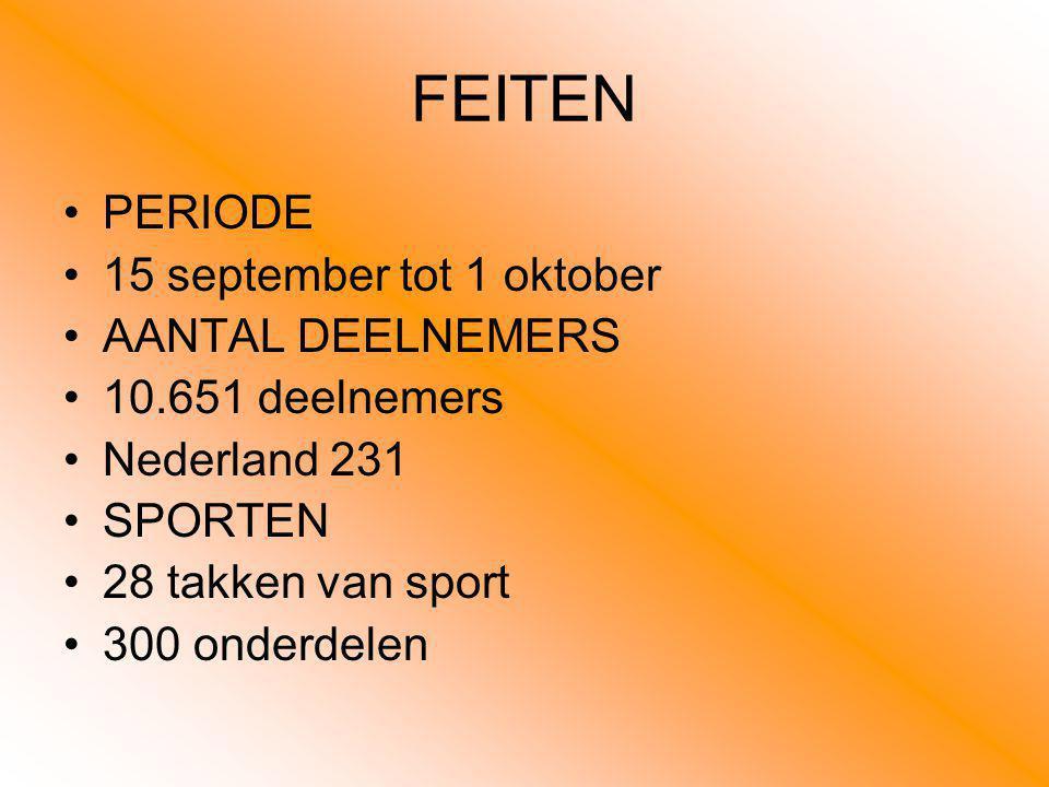 FEITEN PERIODE 15 september tot 1 oktober AANTAL DEELNEMERS 10.651 deelnemers Nederland 231 SPORTEN 28 takken van sport 300 onderdelen