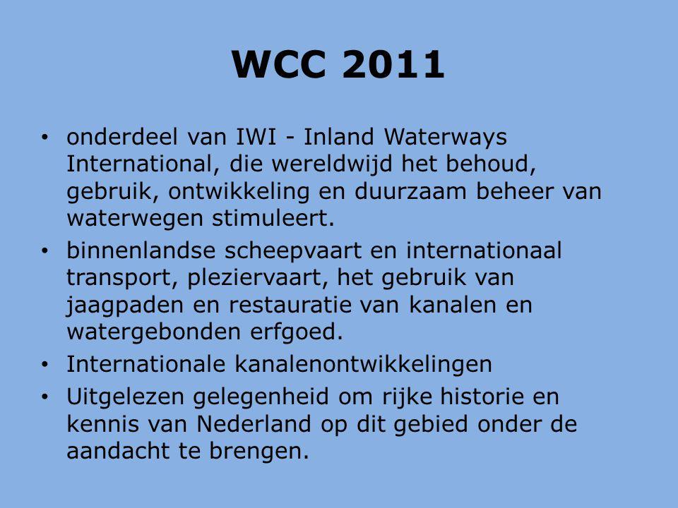WCC 2011 onderdeel van IWI - Inland Waterways International, die wereldwijd het behoud, gebruik, ontwikkeling en duurzaam beheer van waterwegen stimuleert.