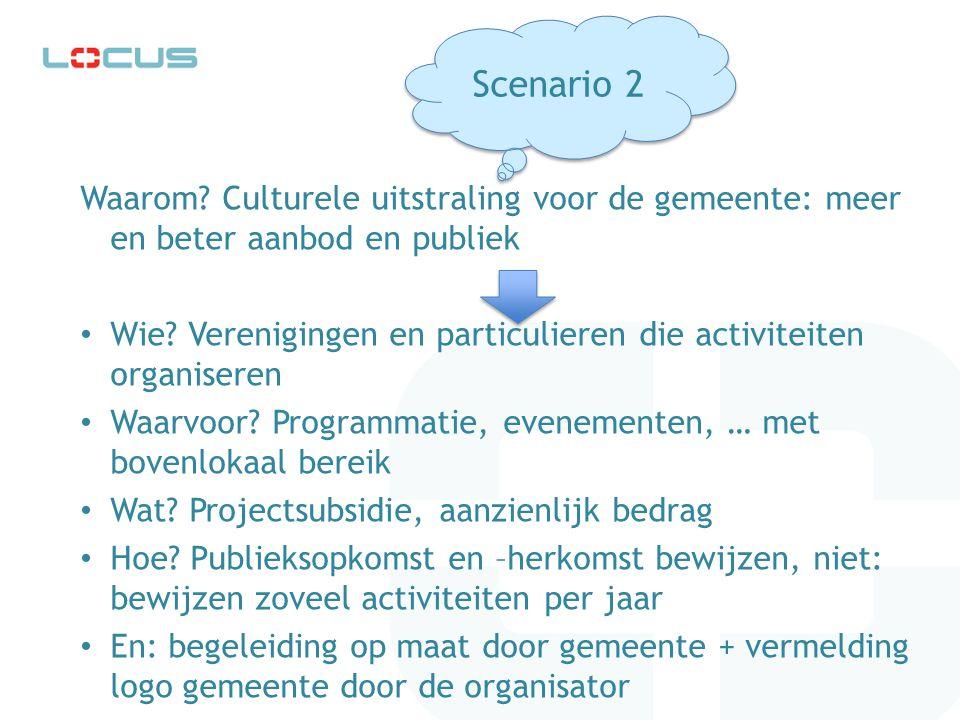 Waarom? Culturele uitstraling voor de gemeente: meer en beter aanbod en publiek Wie? Verenigingen en particulieren die activiteiten organiseren Waarvo
