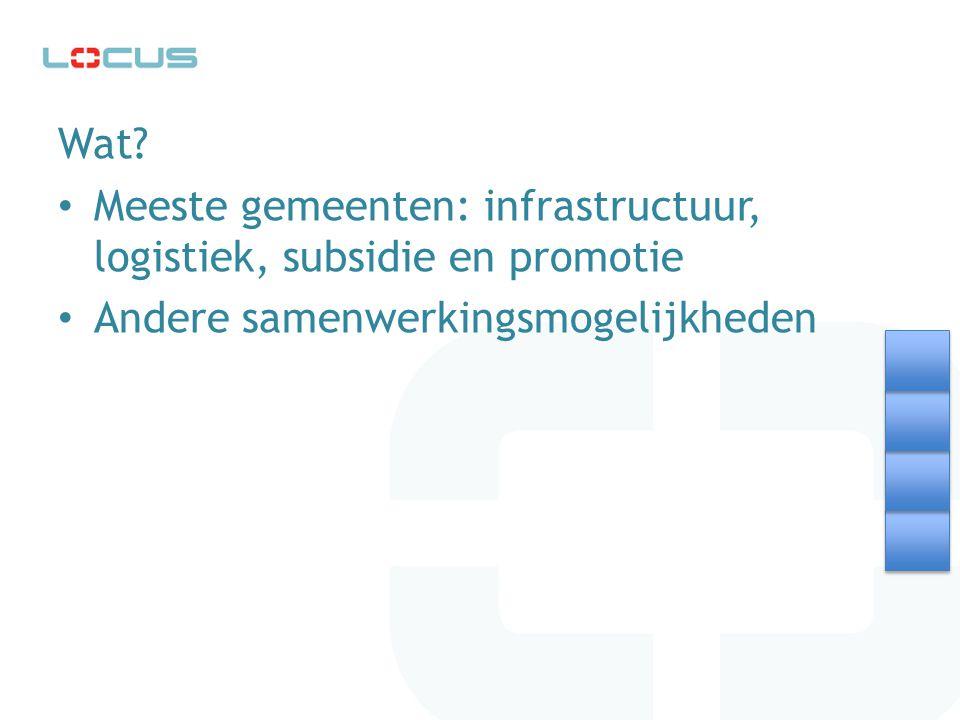 Wat? Meeste gemeenten: infrastructuur, logistiek, subsidie en promotie Andere samenwerkingsmogelijkheden