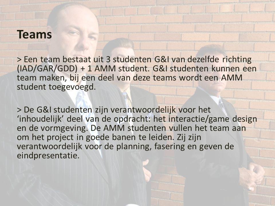 Teams > Een team bestaat uit 3 studenten G&I van dezelfde richting (IAD/GAR/GDD) + 1 AMM student.