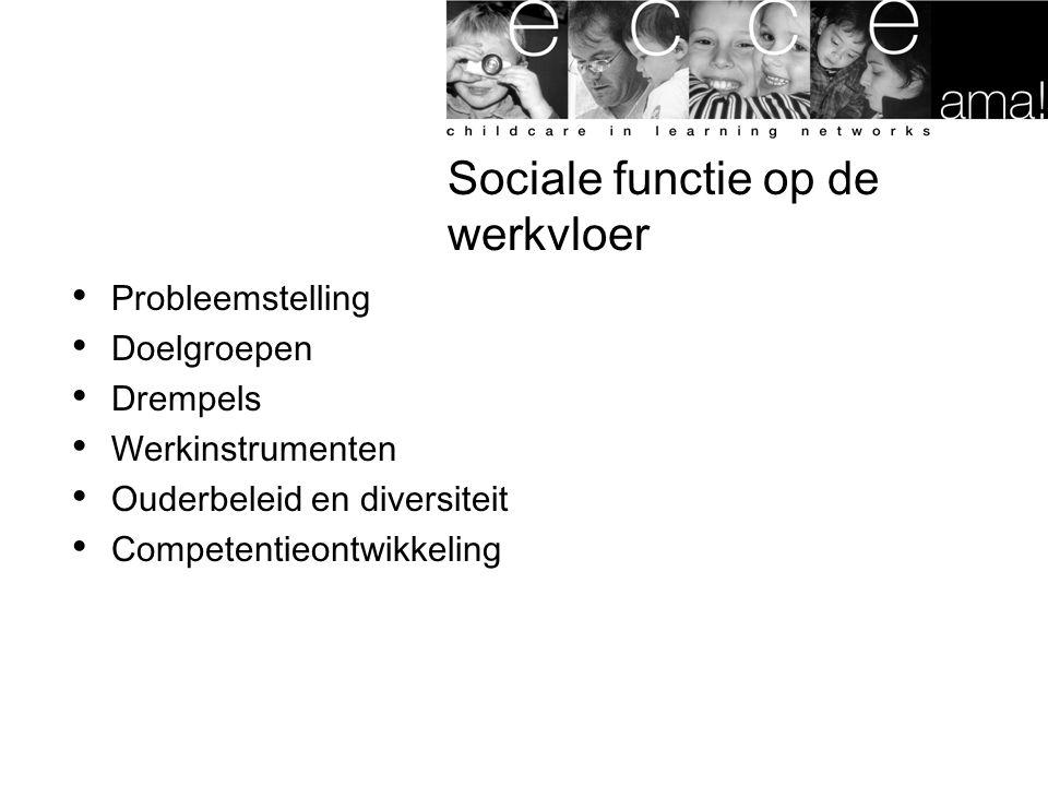 Sociale functie op de werkvloer Probleemstelling Doelgroepen Drempels Werkinstrumenten Ouderbeleid en diversiteit Competentieontwikkeling