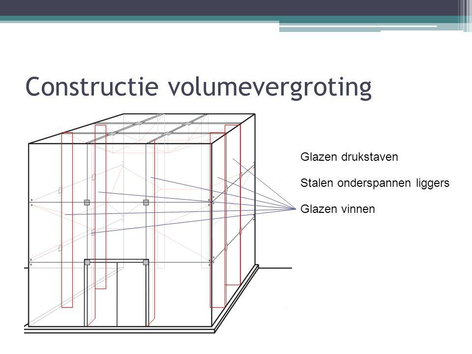 Constructie volumevergroting Glazen drukstaven Stalen onderspannen liggers Glazen vinnen