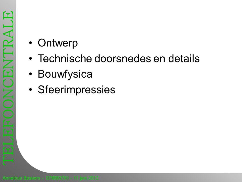 Ontwerp Technische doorsnedes en details Bouwfysica Sfeerimpressies