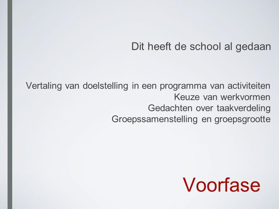 Voorfase Vertaling van doelstelling in een programma van activiteiten Keuze van werkvormen Gedachten over taakverdeling Groepssamenstelling en groepsg