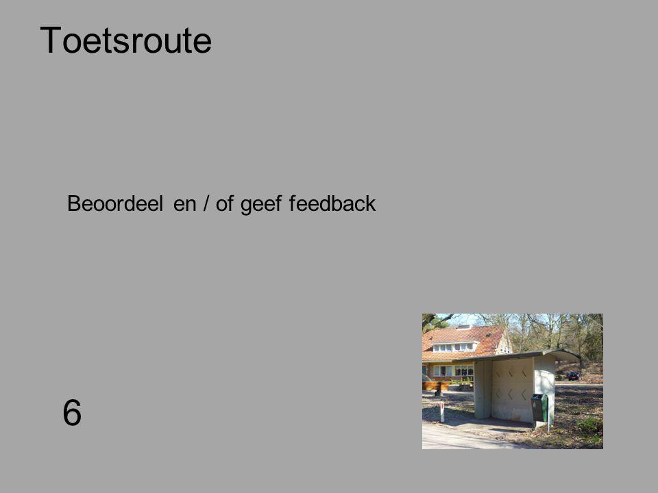 Toetsroute 6 Beoordeel en / of geef feedback