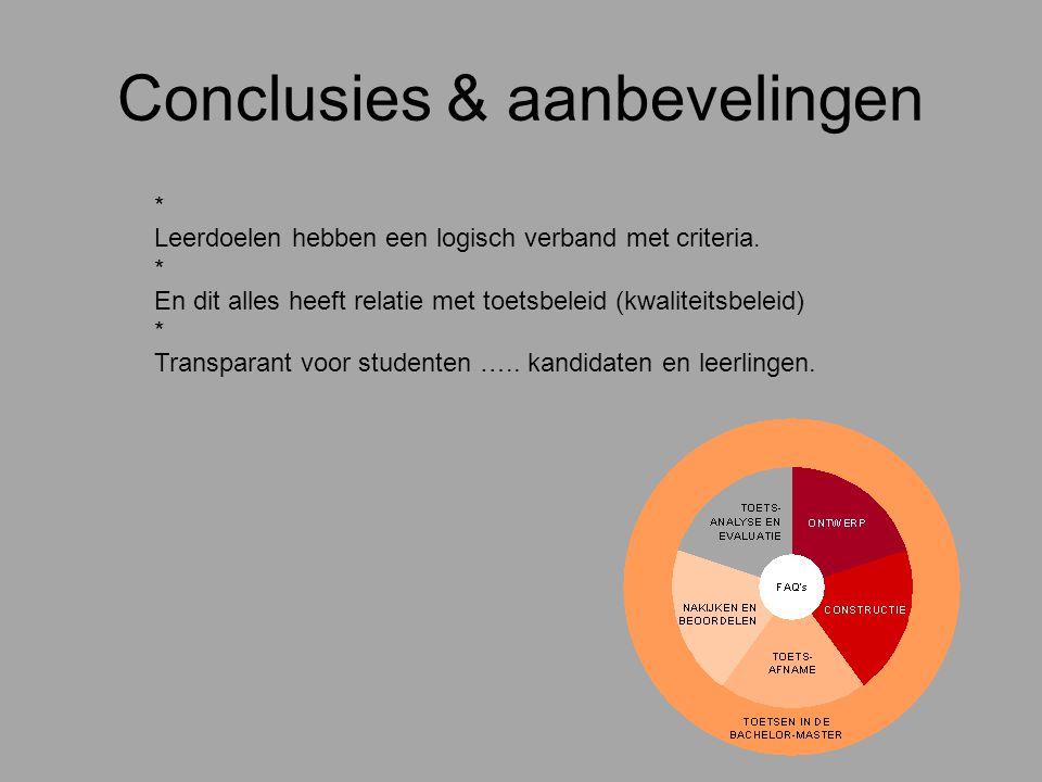 Conclusies & aanbevelingen * Leerdoelen hebben een logisch verband met criteria. * En dit alles heeft relatie met toetsbeleid (kwaliteitsbeleid) * Tra