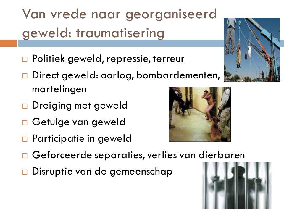 Van vrede naar georganiseerd geweld: traumatisering  Politiek geweld, repressie, terreur  Direct geweld: oorlog, bombardementen, martelingen  Dreig
