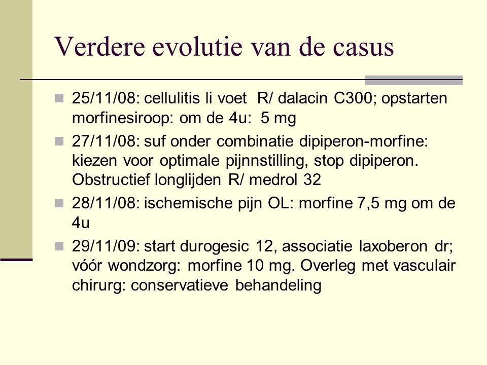 Verdere evolutie van de casus 25/11/08: cellulitis li voet R/ dalacin C300; opstarten morfinesiroop: om de 4u: 5 mg 27/11/08: suf onder combinatie dip