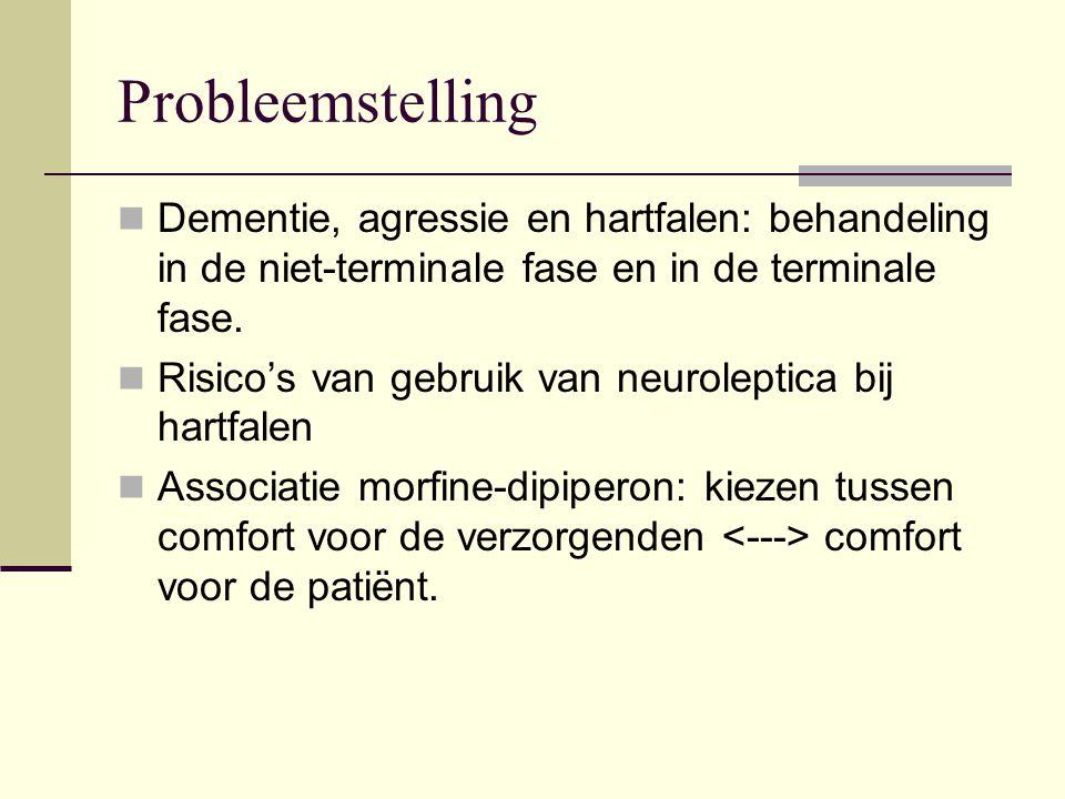Probleemstelling Dementie, agressie en hartfalen: behandeling in de niet-terminale fase en in de terminale fase. Risico's van gebruik van neuroleptica