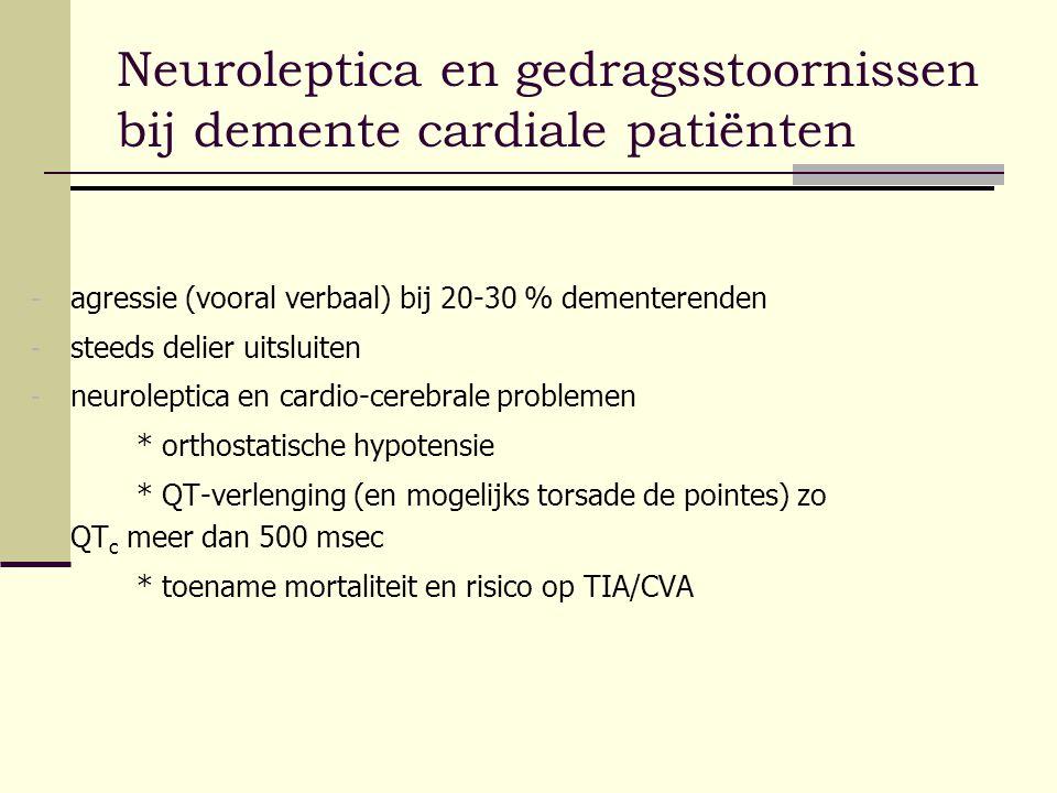 Neuroleptica en gedragsstoornissen bij demente cardiale patiënten - agressie (vooral verbaal) bij 20-30 % dementerenden - steeds delier uitsluiten - n