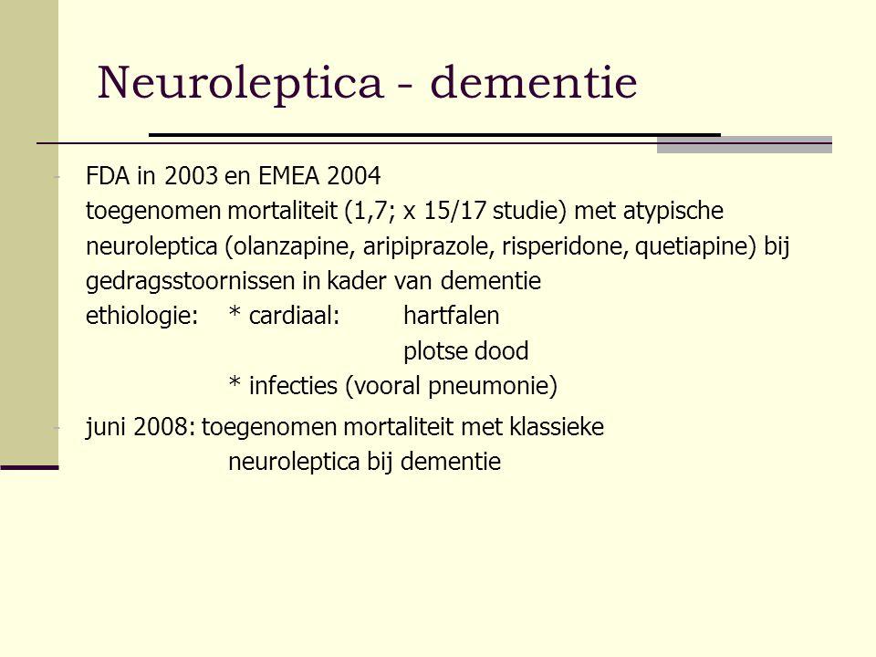 Neuroleptica - dementie - FDA in 2003 en EMEA 2004 toegenomen mortaliteit (1,7; x 15/17 studie) met atypische neuroleptica (olanzapine, aripiprazole,