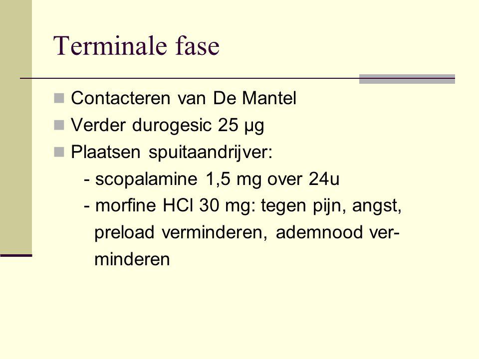 Terminale fase Contacteren van De Mantel Verder durogesic 25 µg Plaatsen spuitaandrijver: - scopalamine 1,5 mg over 24u - morfine HCl 30 mg: tegen pij