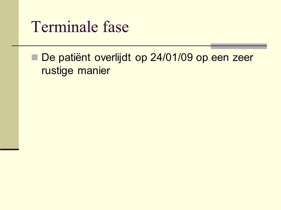 Terminale fase De patiënt overlijdt op 24/01/09 op een zeer rustige manier