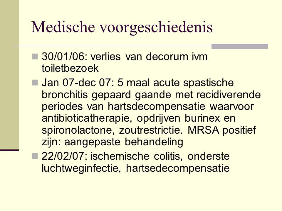 Medische voorgeschiedenis 30/01/06: verlies van decorum ivm toiletbezoek Jan 07-dec 07: 5 maal acute spastische bronchitis gepaard gaande met recidive