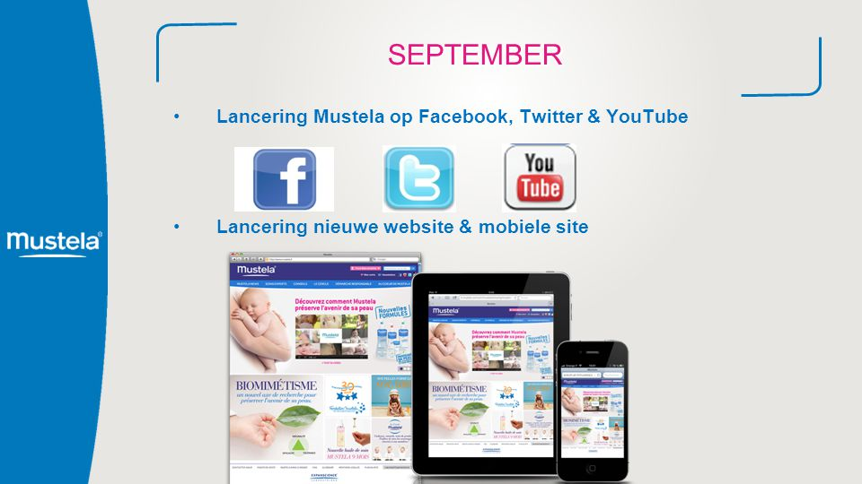 SEPTEMBER Lancering Mustela op Facebook, Twitter & YouTube Lancering nieuwe website & mobiele site