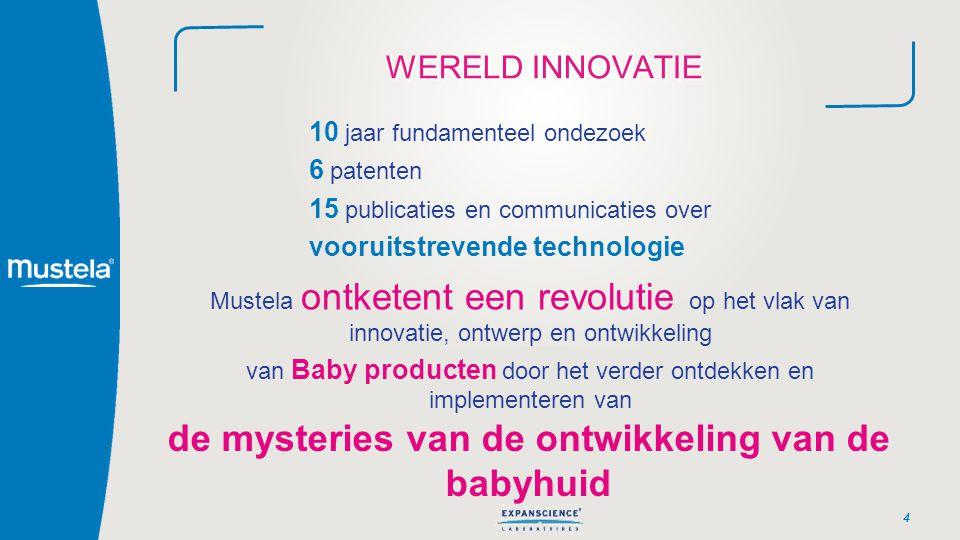 WERELD INNOVATIE 4 10 jaar fundamenteel ondezoek 6 patenten 15 publicaties en communicaties over vooruitstrevende technologie Mustela ontketent een re