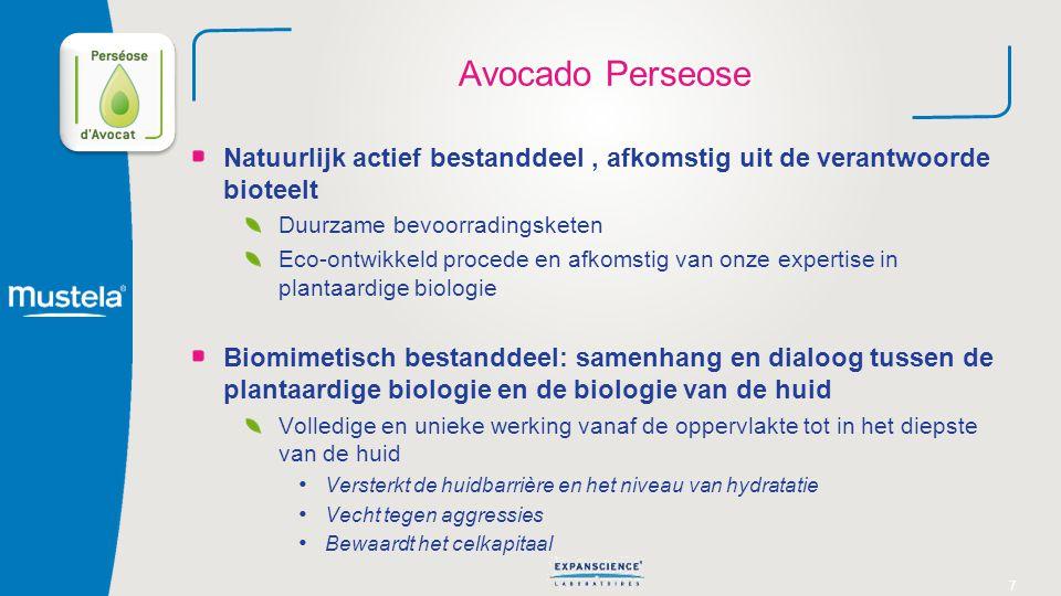 7 Avocado Perseose Natuurlijk actief bestanddeel, afkomstig uit de verantwoorde bioteelt Duurzame bevoorradingsketen Eco-ontwikkeld procede en afkomst