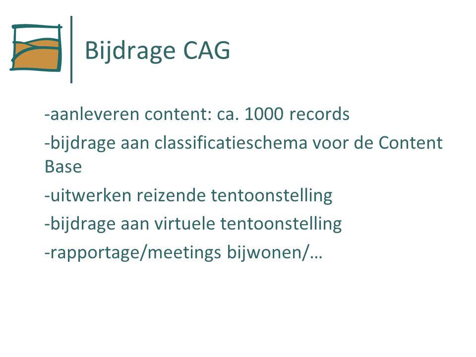 Bijdrage CAG -aanleveren content: ca.