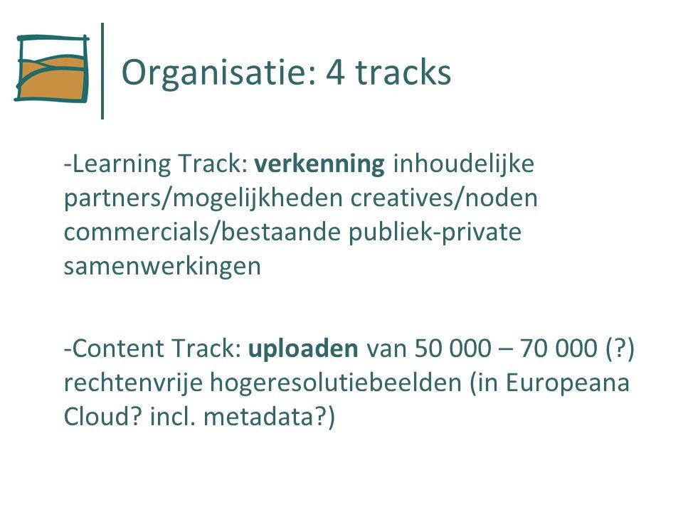 Organisatie: 4 tracks -Learning Track: verkenning inhoudelijke partners/mogelijkheden creatives/noden commercials/bestaande publiek-private samenwerkingen -Content Track: uploaden van 50 000 – 70 000 ( ) rechtenvrije hogeresolutiebeelden (in Europeana Cloud.