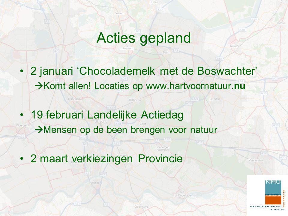 Acties gepland 2 januari 'Chocolademelk met de Boswachter'  Komt allen.