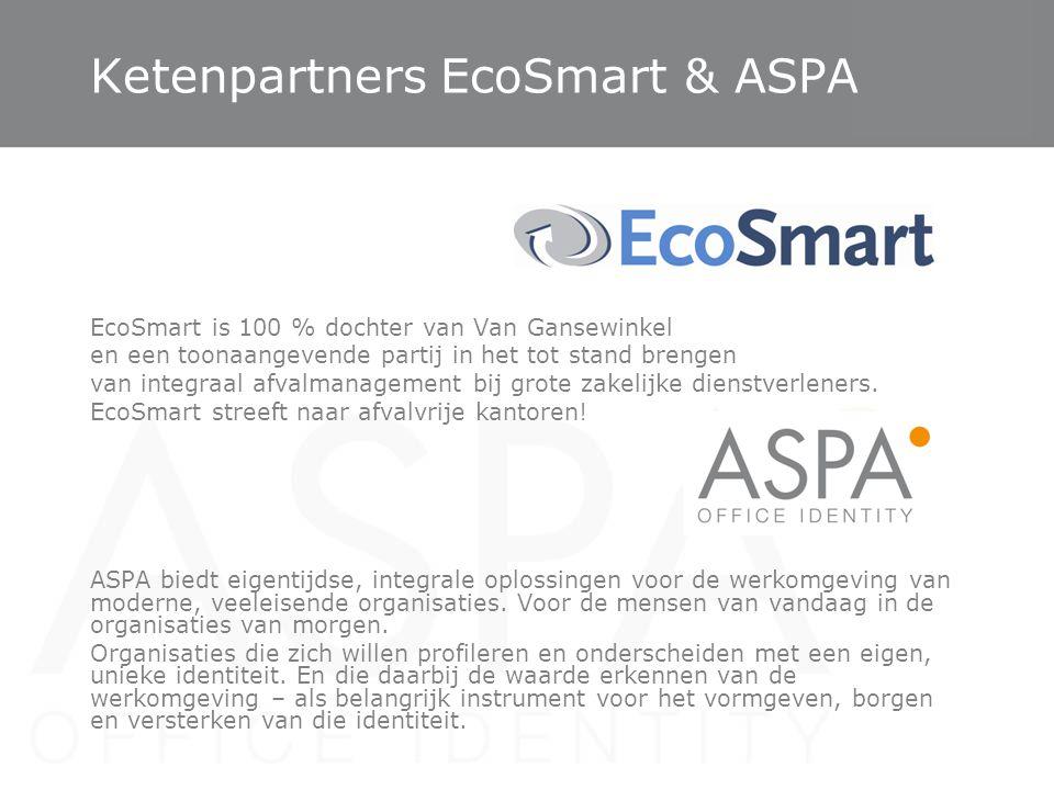 Ketenpartners EcoSmart & ASPA EcoSmart is 100 % dochter van Van Gansewinkel en een toonaangevende partij in het tot stand brengen van integraal afvalm