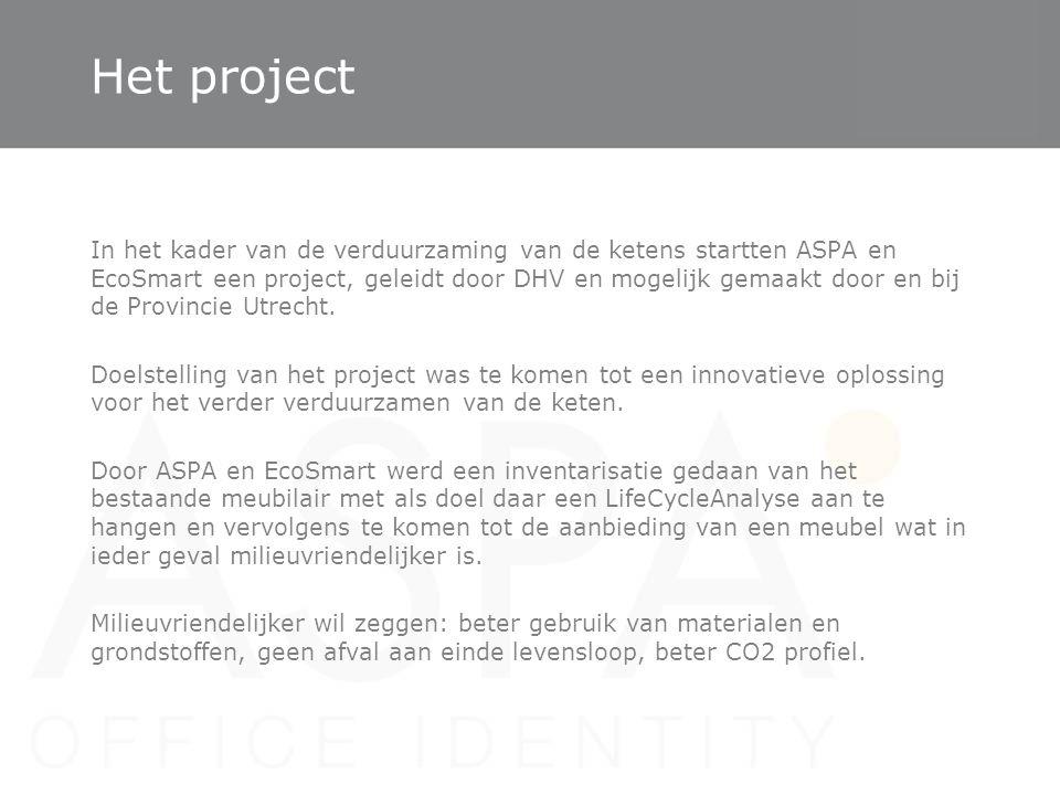 Het project In het kader van de verduurzaming van de ketens startten ASPA en EcoSmart een project, geleidt door DHV en mogelijk gemaakt door en bij de
