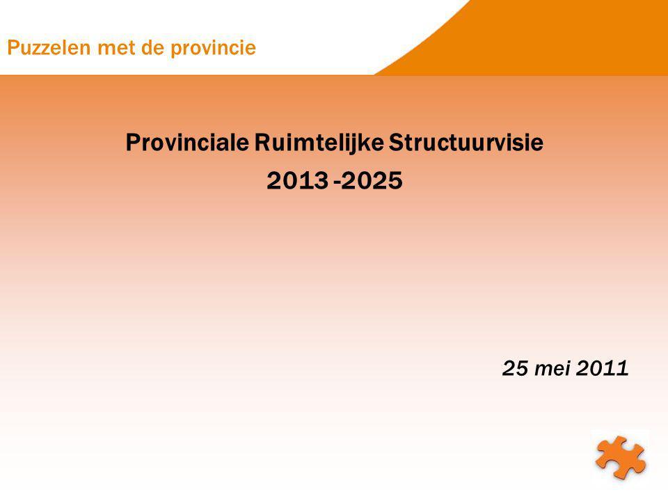 Puzzelen met de provincie Provinciale Ruimtelijke Structuurvisie 2013 -2025 25 mei 2011